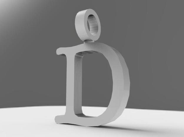 D Letter Pendant in Polished Bronzed Silver Steel