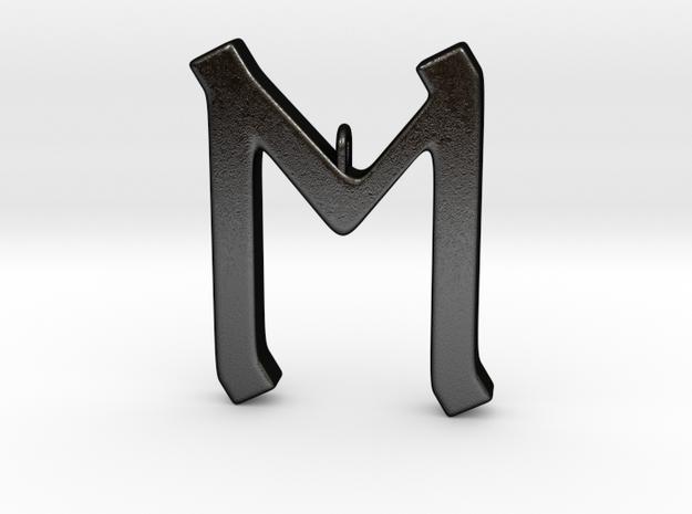 Rune Pendant - Eh in Matte Black Steel