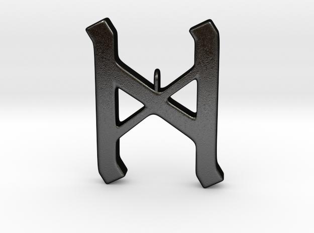 Rune Pendant - Dæg in Matte Black Steel