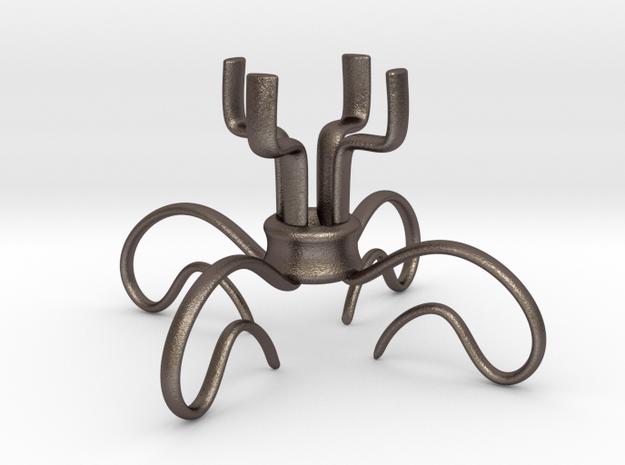 ROSE Tealight Holder in Polished Bronzed Silver Steel