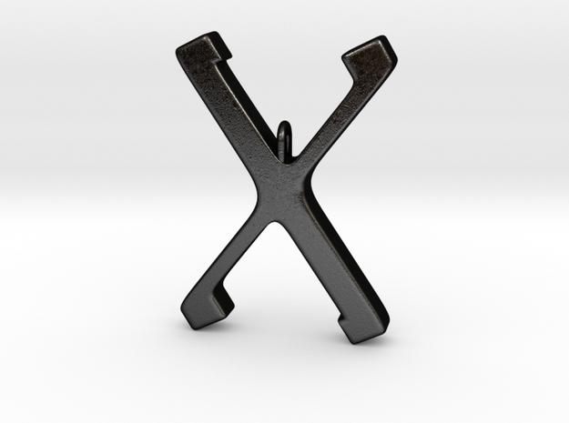 Rune Pendent - Gyfu in Matte Black Steel