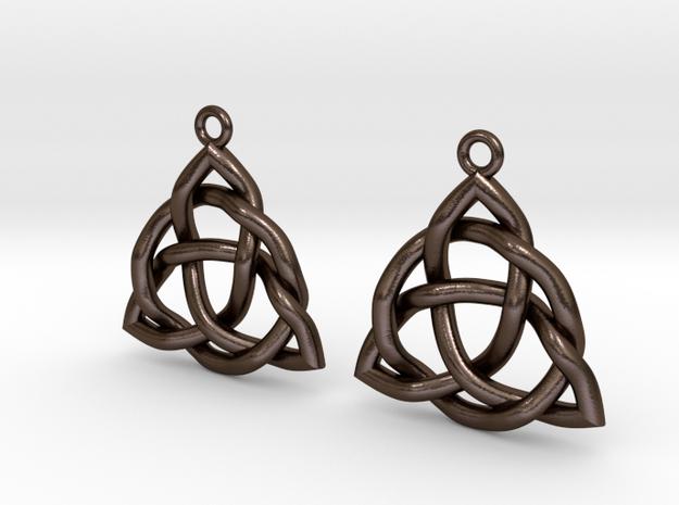 Triquetra Earrings in Polished Bronze Steel