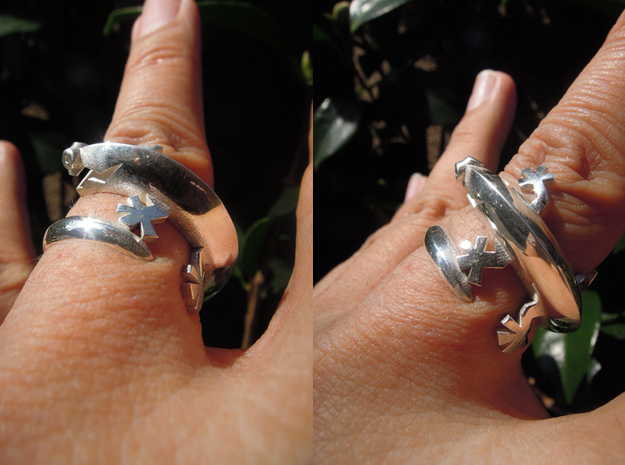 Lizerd Ring 01 ex in Polished Silver