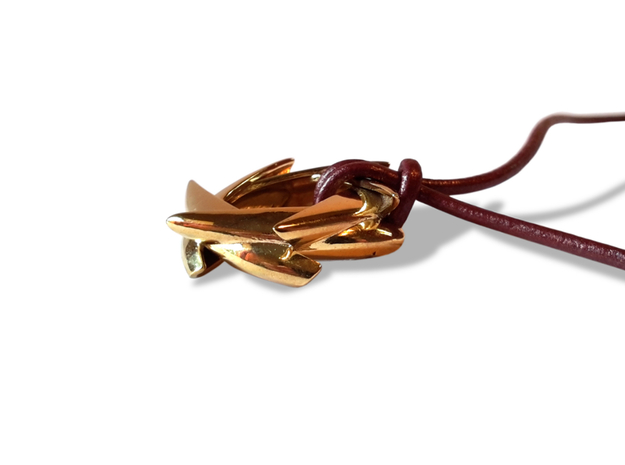 COROLLA pendant 3d printed Gold Plated Brass