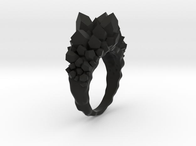 Crystal Ring Size 10 in Black Natural Versatile Plastic