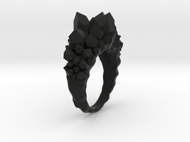 Crystal Ring Size 10 in Black Natural Versatile Plastic