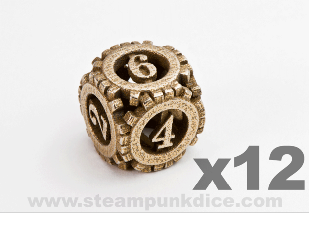 Steampunk Gear 12d6 Set in Polished Bronzed Silver Steel