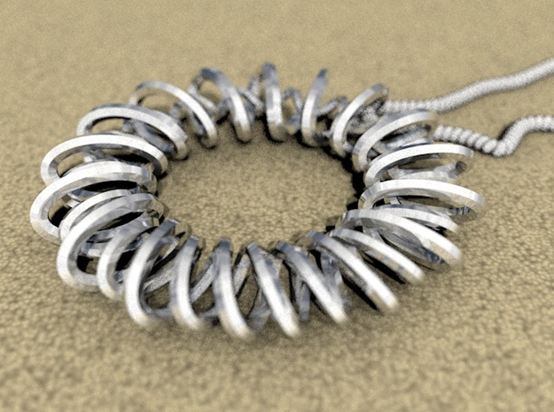 Ouroboros Spiral v1 3d printed Rendered lying down (chain not included)