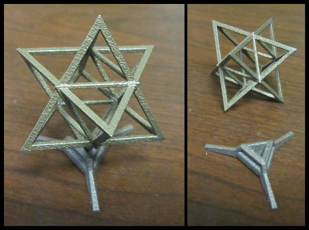 Sharp Merkaba Stand - 3cm in Polished Bronzed Silver Steel