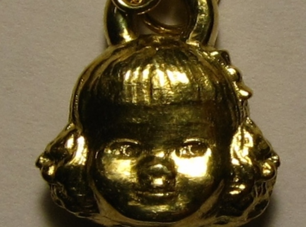 Chatty Cathy Earring or charm in Polished Brass