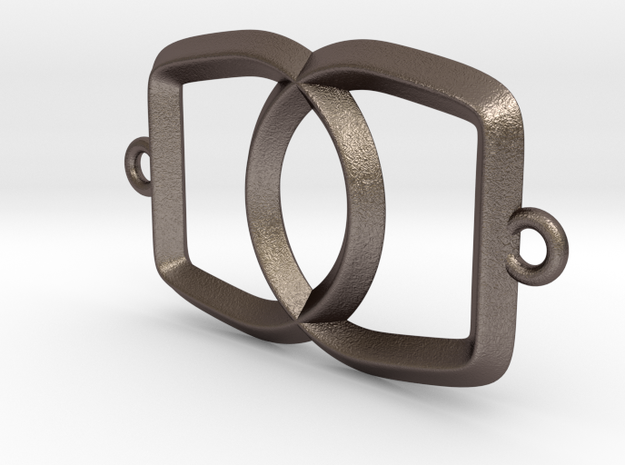 Linked Bottle Opener in Polished Bronzed Silver Steel