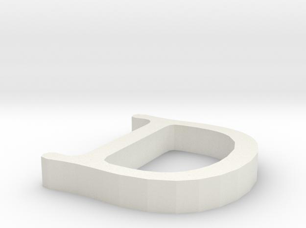 D Letter in White Natural Versatile Plastic