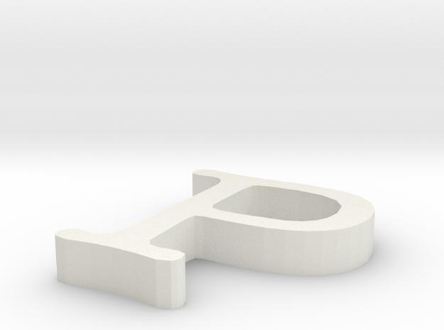 P Letter in White Natural Versatile Plastic