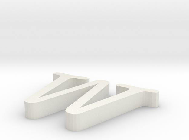 W Letter in White Natural Versatile Plastic