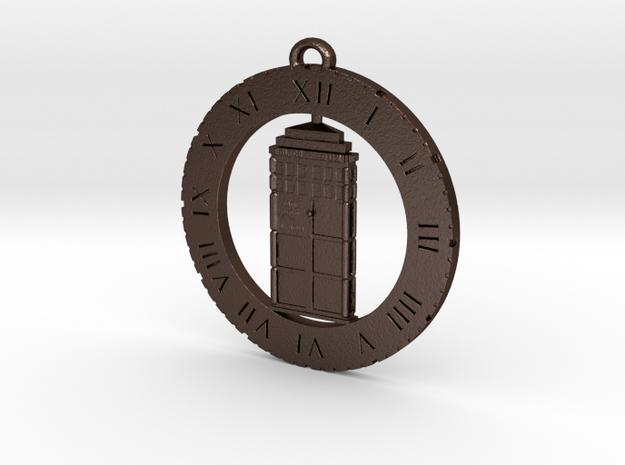 TARDIS (Flat) - Pendant in Matte Bronze Steel