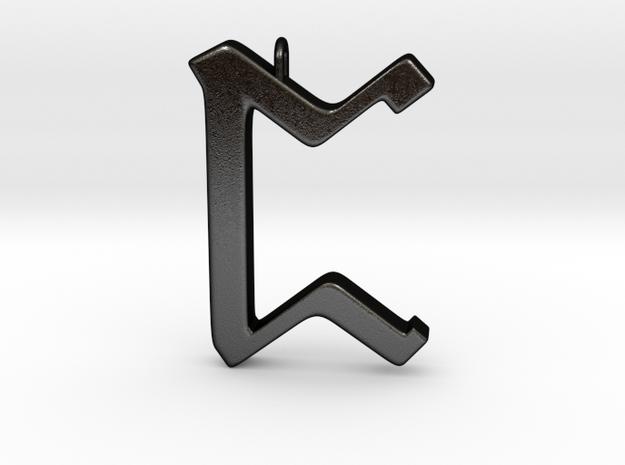Rune Pendant - Peorð in Matte Black Steel