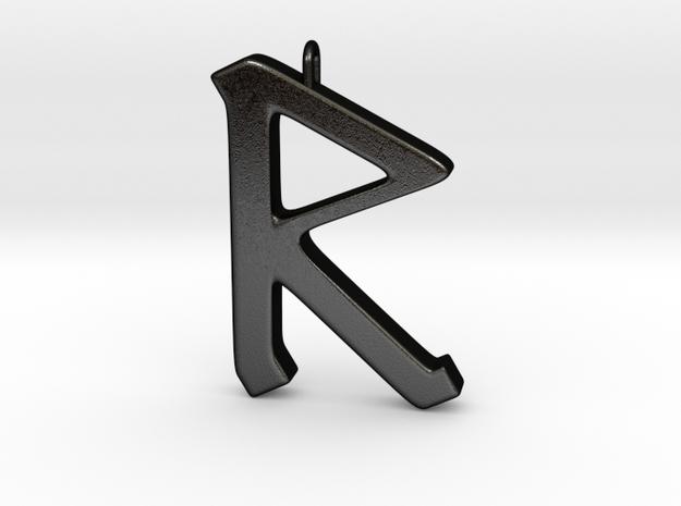 Rune Pendant - Rād in Matte Black Steel