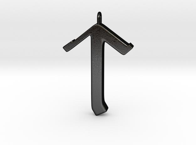 Rune Pendant - Tīr in Matte Black Steel