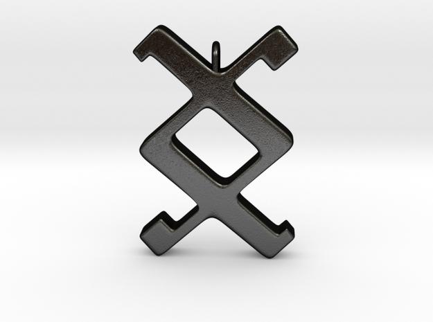 Rune Pendant - Ing in Matte Black Steel