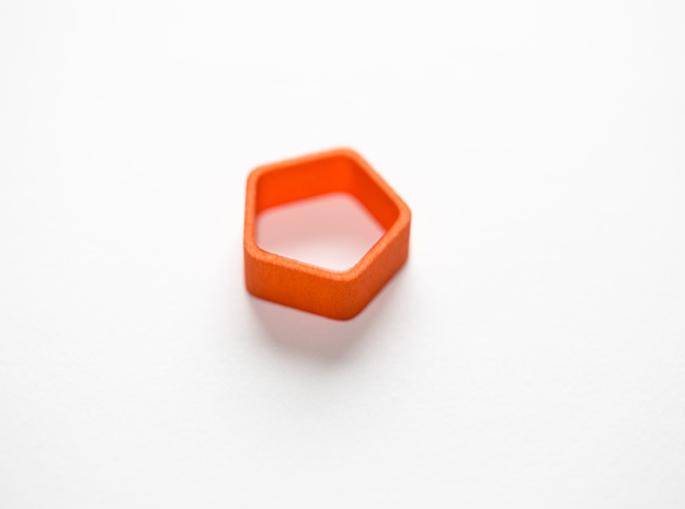 Poly5 Ring, Size US5 in Orange Strong & Flexible Polished