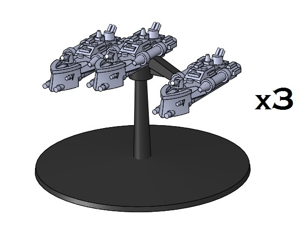 BFG Patrol Torpedo Boat Squadron (x3) 3d printed One model, rendered on a flight stand (not included)