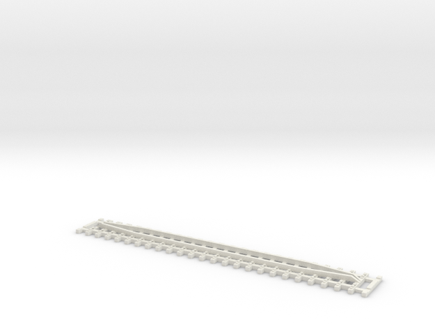 Track 124 mm with guard rails in White Natural Versatile Plastic