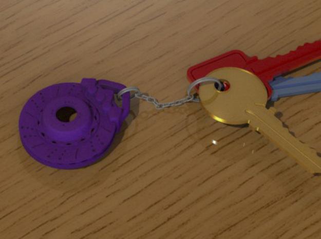Disc brake keychain 3d printed Purple strong & flexible