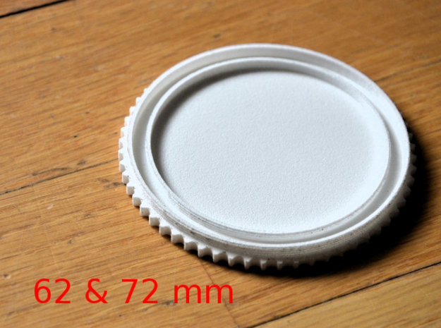 Double threaded lens cap: 72 and 62 mm in White Strong & Flexible