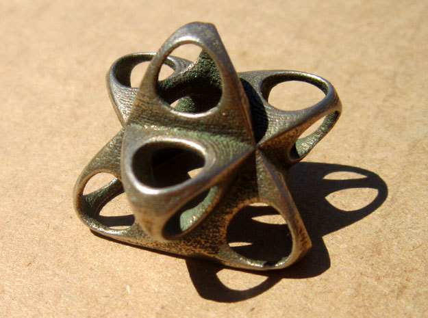 Merkaba Flatbase Round - 3.5cm in Polished Bronzed Silver Steel