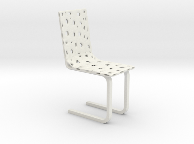 Modern Voronoi Organic Chair in White Natural Versatile Plastic
