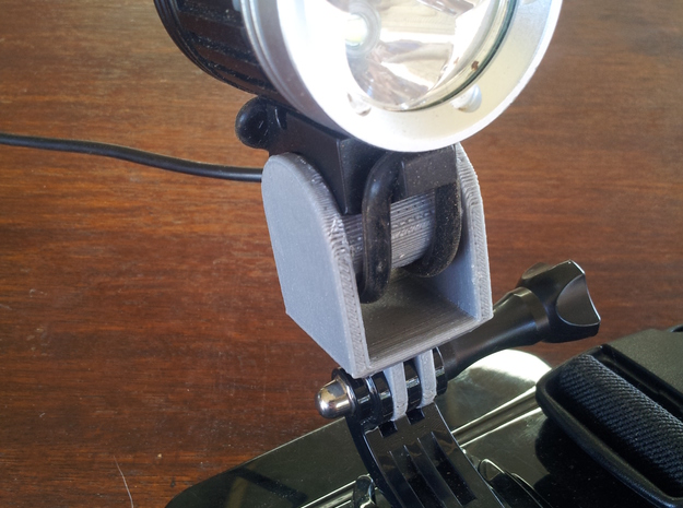 LED Bicycle Headlight GoPro Style Adapter in White Natural Versatile Plastic