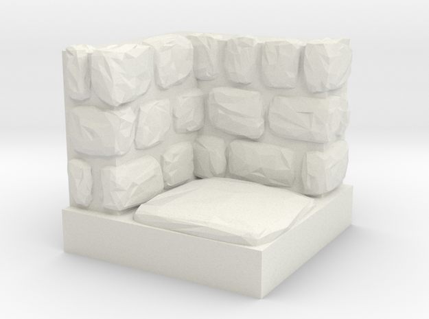 Dungeon 1x1 Corner Inner in White Natural Versatile Plastic
