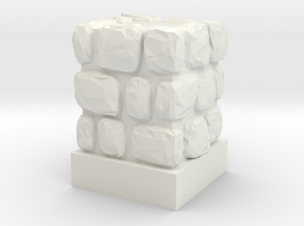 Dungeon 1x1 Wall Block in White Natural Versatile Plastic