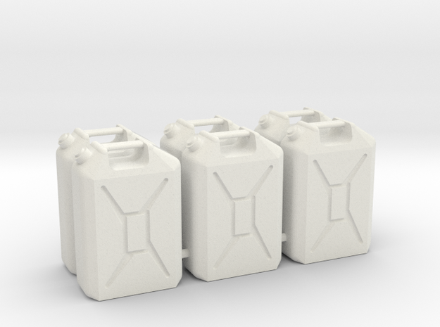Six 1/16 scale 20L Jerrycans in White Strong & Flexible