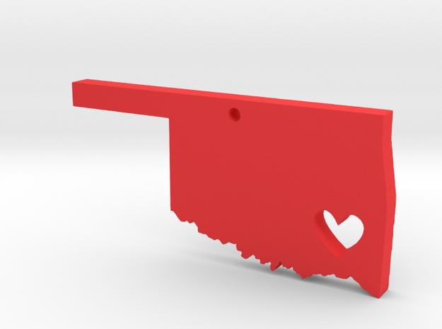 Oklahoma Love Pendant in Red Processed Versatile Plastic