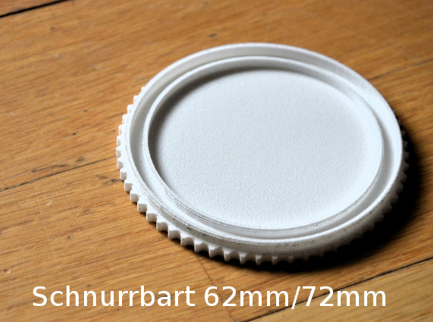 Schnurrbart Mustache Doppel Lens Cap 62mm/72mm in White Strong & Flexible