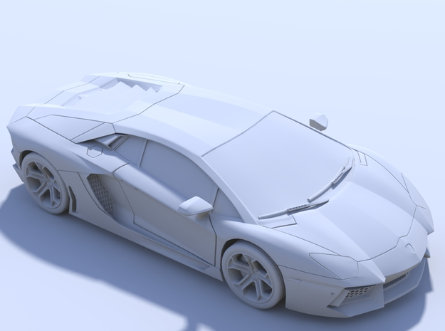 75mm - Hollow: Lamborghini Aventador in Smooth Fine Detail Plastic