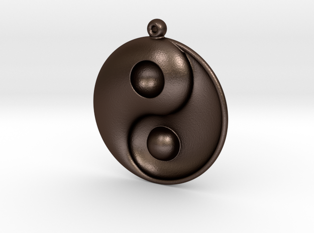 Yin Yang - 6.1 - Earring - Left in Matte Bronze Steel