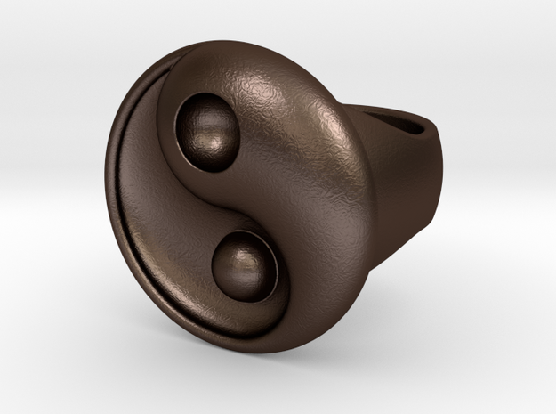 Yin Yang - 6.1 - Ring For Man - 16.5 Mm in Matte Bronze Steel