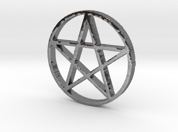 Pentagram (Pentacle) in Fine Detail Polished Silver
