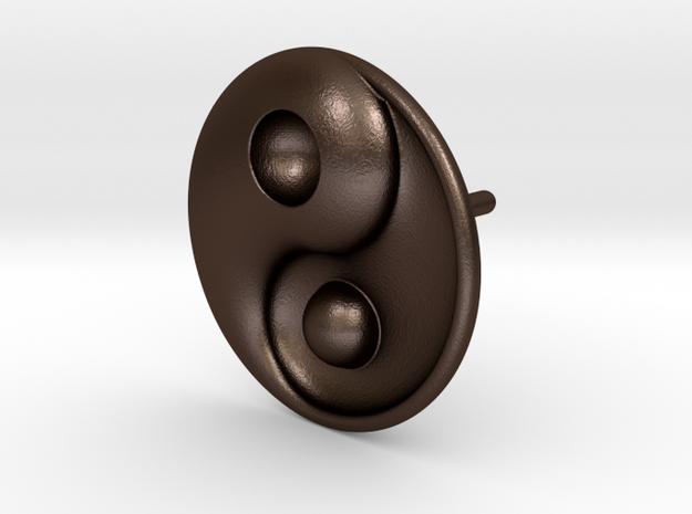 Yin Yang - 6.1 - Stud Earring - Left in Matte Bronze Steel