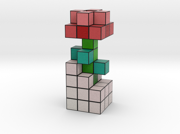 ROSE VOXEL FLOWER DECORATION in Full Color Sandstone