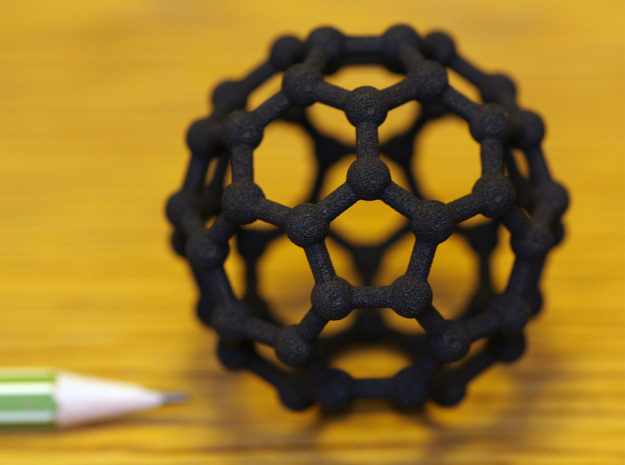 Buckyball C60 Molecule Model. 3 Sizes. in Black Natural Versatile Plastic: Medium