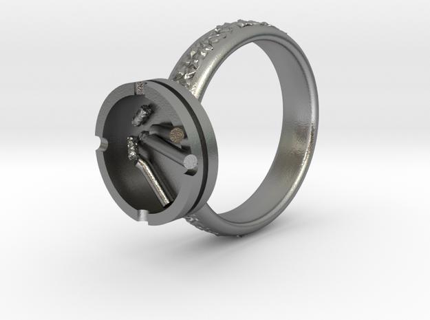 Smoke ring(USA 5.5,Japan 10,Britain K) in Natural Silver