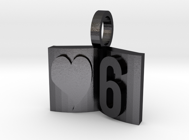 6th Anniversary Charm Bracelet Book in Polished and Bronzed Black Steel
