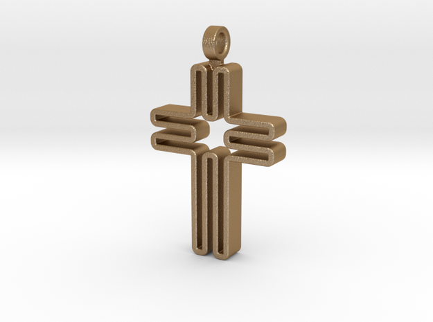 Contemporary Cross Pendant in Matte Gold Steel