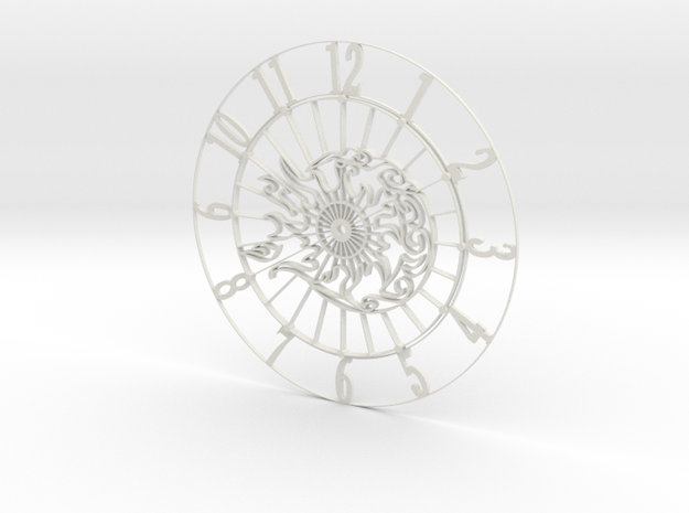 Sun-Moon Clock Face in White Natural Versatile Plastic