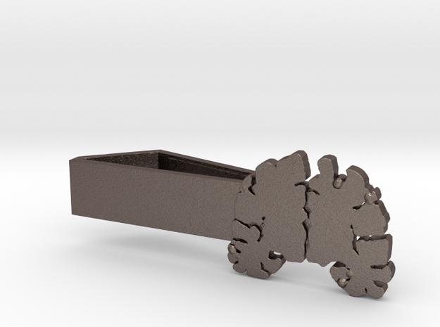 "Brain Tie Bar - 1-3/8"" (Skinny) in Polished Bronzed Silver Steel"