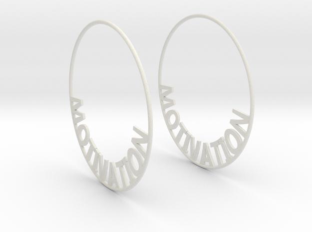 Custom Hoop Earrings - Motivation 60mm in White Natural Versatile Plastic