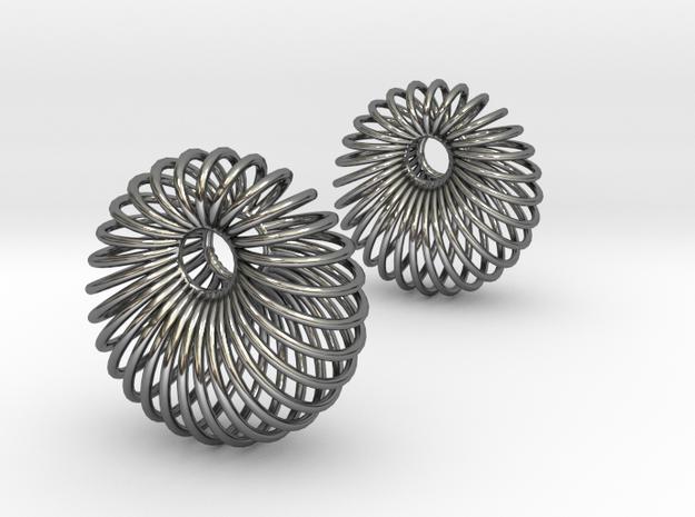 Wired Beauty 6 Hoop Earrings 30mm in Fine Detail Polished Silver